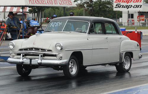 1952 Dodge car at drag strip with race tires