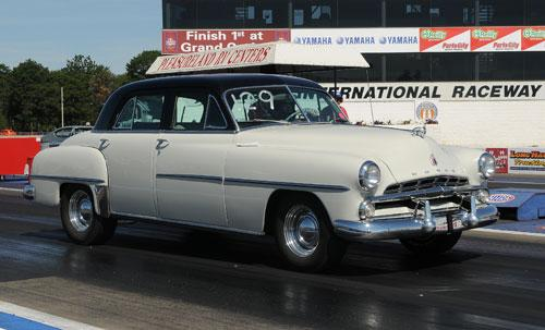 1952 Dodge car at drag strip with Street Tires